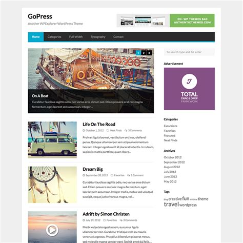 wordpress themes blog download gopress free wordpress news theme