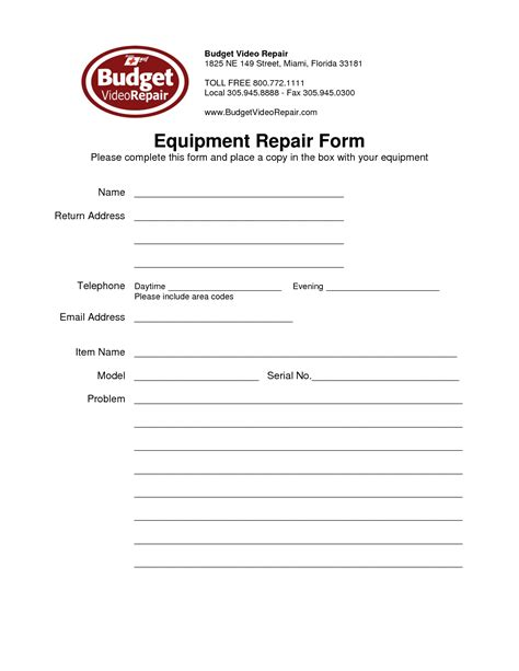 best photos of equipment repair form template equipment