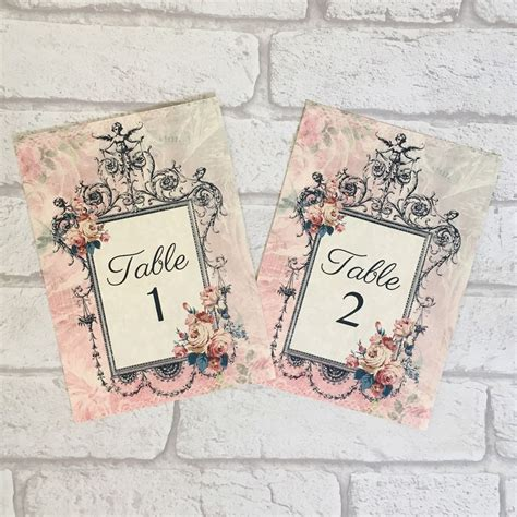 vintage shabby chic l vintage style wedding numbers names cards shabby