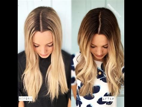 blonde ombre hair color tutorial youtube diy from blonde to the perfect balayage easy to follow