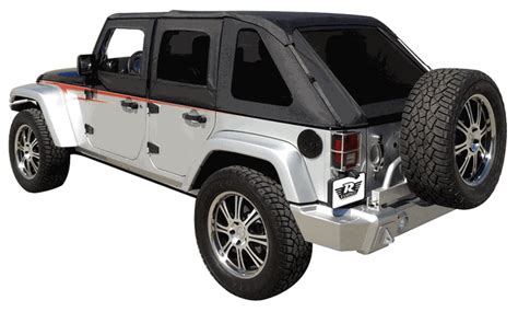 2013 Jeep Wrangler Unlimited Soft Top Kit by All Things Jeep Frameless Sailcloth Soft Top With Tinted