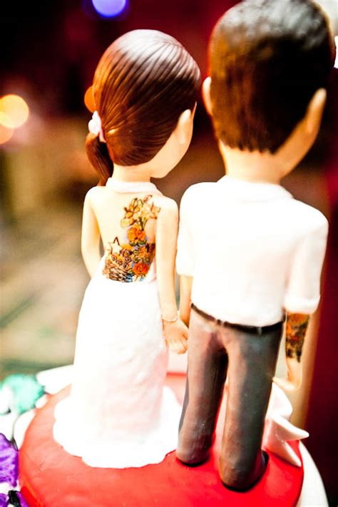 tattooed couple cake toppers steve kelly s butterfly tattoo themed florida wedding
