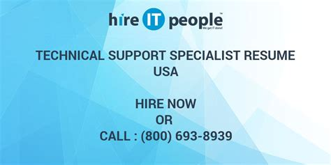 Technical Support Specialist Resume Summary by Technical Support Specialist Resume Hire It We