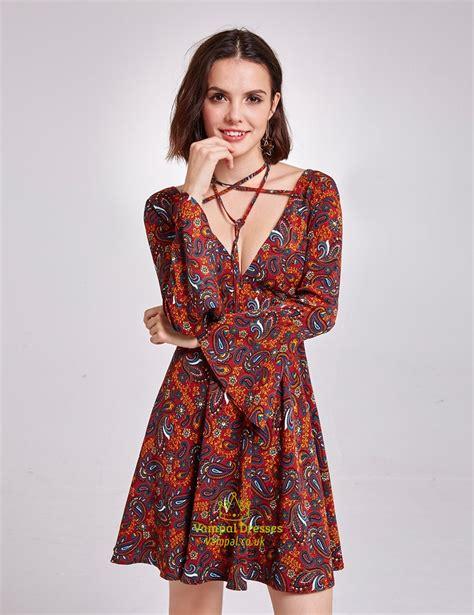V Neck Sleeve Cocktail Dress vintage floral v neck a line cocktail dress with