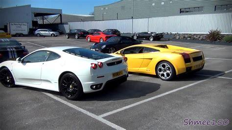 Ferrari F430 vs Lamborghini Gallardo   Revs and Drive off