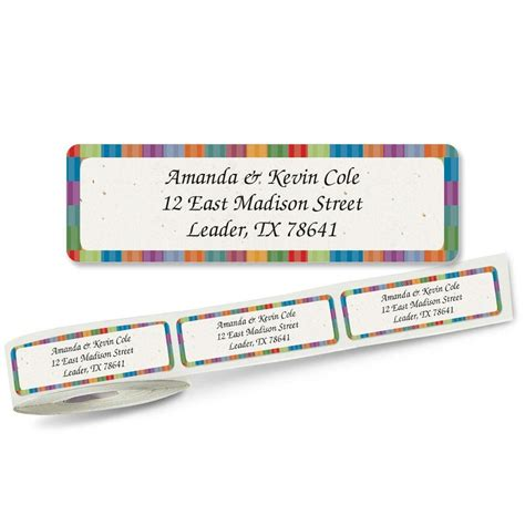 butterflies designer rolled return address labels bright stripes designer rolled return address labels