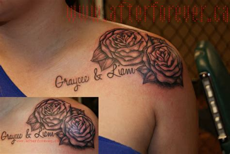 rose tattoo with name 41 awesome shoulder tattoos