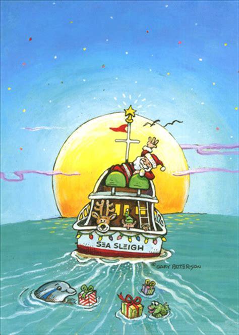 sea sleigh boat christmas card  lpg