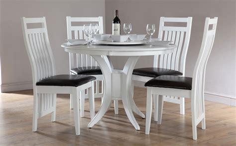 somerset java white dining room table and 4 leather