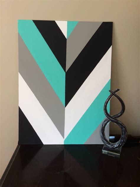canva drawing hand painted modern chevron arrow geometric canvas art by