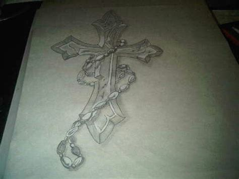 cross with rosary beads tattoo art sketches pinterest