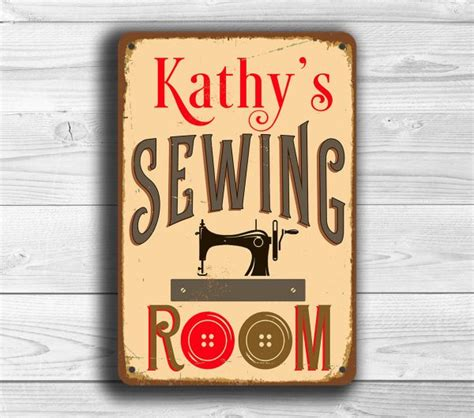 personalized sewing room sign classic metal signs