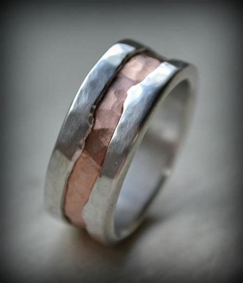 Mens Handmade Rings - mens wedding band silver and 14k gold ring