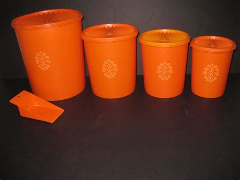 Retro Vintage Tupperware Canister Set 9 pc Orange servalier