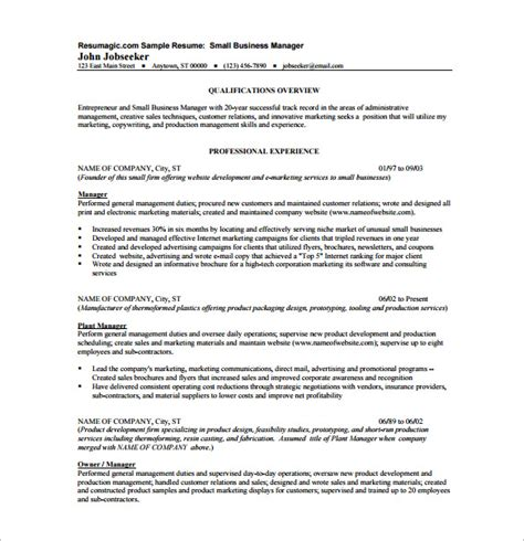 Business Management Resume Template by Business Resume Template 11 Free Word Excel Pdf