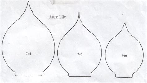 calla template arum calla set of 3 744 745 746 90mm 75mm 65mm