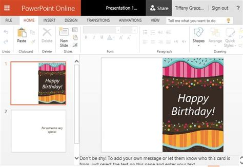 Children S Birthday Card Template For Powerpoint Card Powerpoint Template