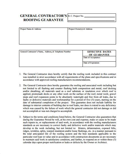 Roofing Contract Template 11 Download Free Documents In Pdf Roofing Labor Warranty Template
