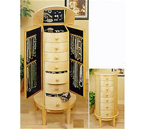 maple jewelry armoire powell natural color maple finish jewelry armoire qvc com