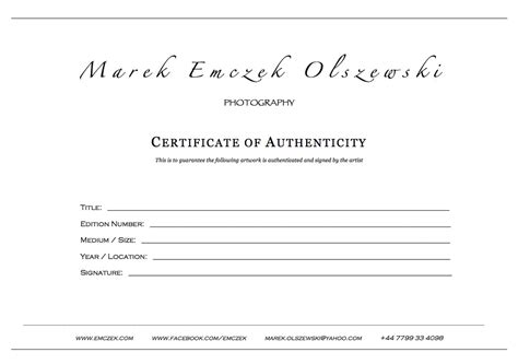 certificate of authenticity photography template how to create a certificate of authenticity for your