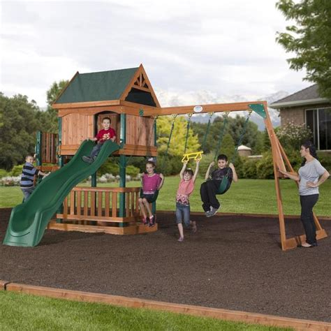 swing mansion brookhaven wooden swing set playset backyard discovery