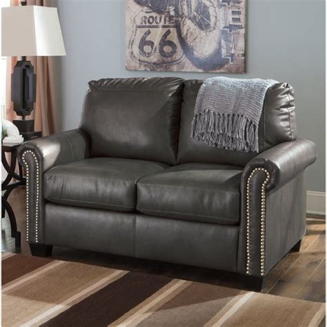 ashley leather sleeper sofa ashley furniture lottie leather twin sleeper sofa in slate