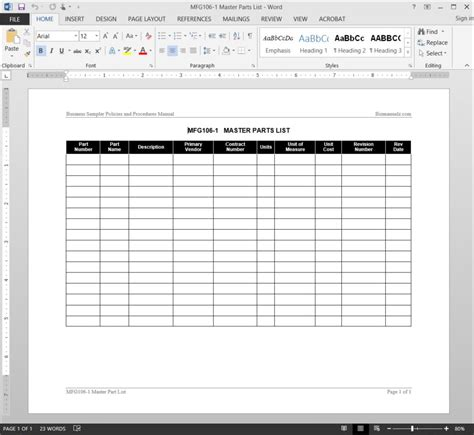 Master Parts List Template Spare Parts List Excel Template