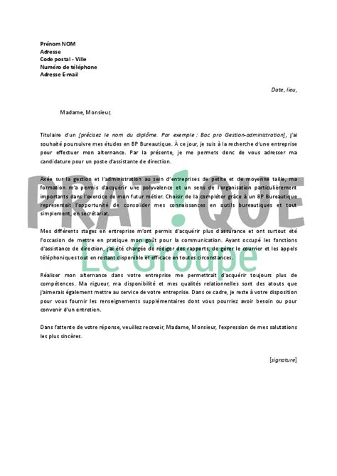 Lettre De Motivation Ecole Formation En Alternance lettre de motivation pour un emploi d assistante de