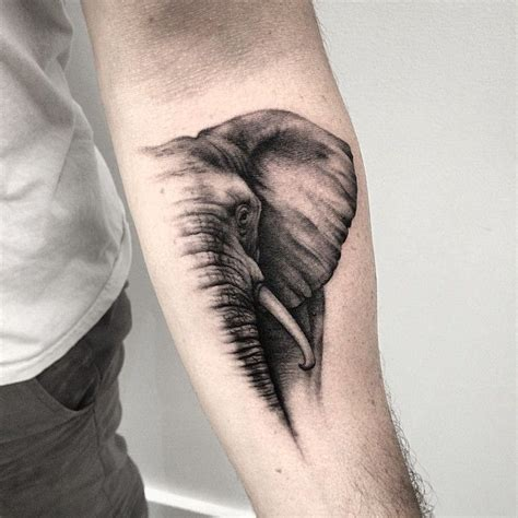 tattoo elephant black black and grey elephant tattoo on forearm