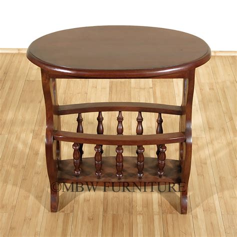 Magazine Rack End Table by Solid Mahogany Oval Magazine Rack Side Table Ebay