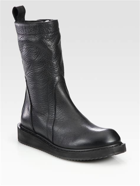 rick owens pebbled leather mid calf boots in black lyst