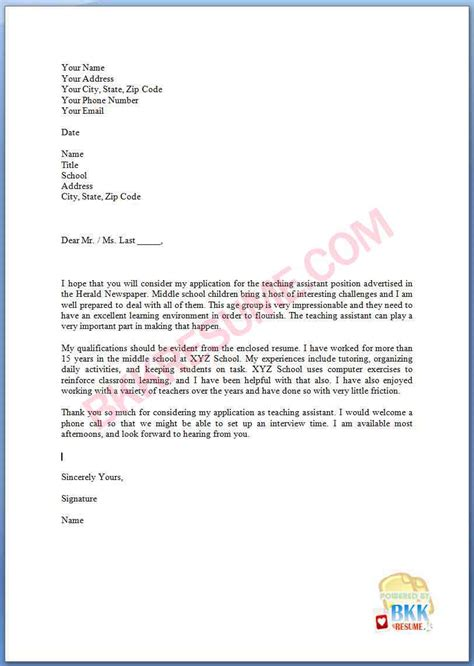 teachers assistant cover letter teaching assistant cover letter