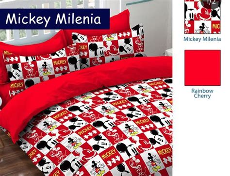 Harga Sprei Merk Nia detail product sprei dan bedcover mickey millenia merah