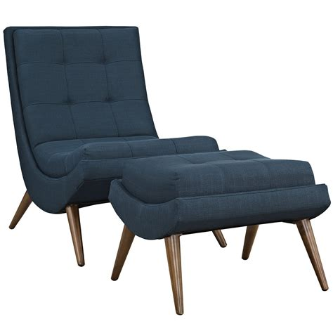 Lounge Chair With Ottoman R Modern Upholstered Lounge Chair And Ottoman With Wood Frame Azure