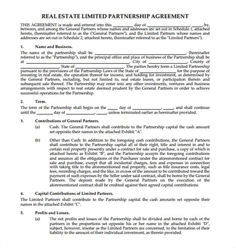 sle partnership agreement template real estate partnership agreement template 28 images