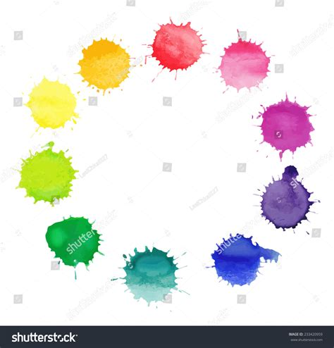 vector frame made of watercolor rainbow blobs colorful paint drops texture vector eps10