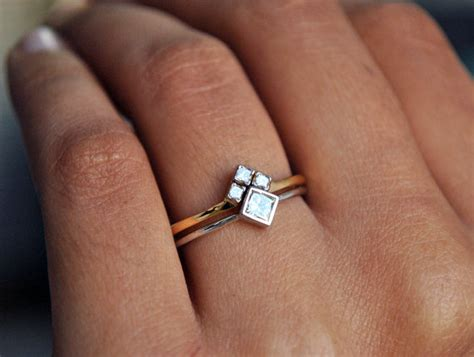 Ehering Verlobungsring Set by Wedding Ring Set White Yellow Gold Princess Cut