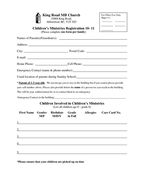 church registration form template church enrollment form template registration form king