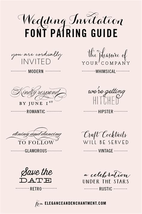Wedding Fonts by Wedding Invitation Font Pairing Guide