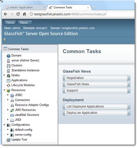 glassfish admin console glassfish 3 1 1 now available in jelastic