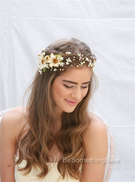 Wedding Hair Accessories Daisies by Rustic Floral Hair Vine Of Ivory Daisies And Pearls Beaded