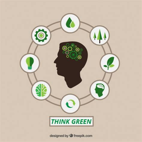 Think Green think green infographic vector free