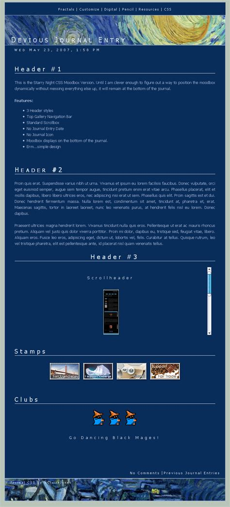 html layout gallery starry night css layout by clairejones on deviantart