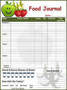 free food templates free food journal template formxls
