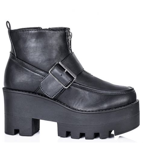 chunky ankle boots buy rifle chunky cleated sole platform ankle boots black