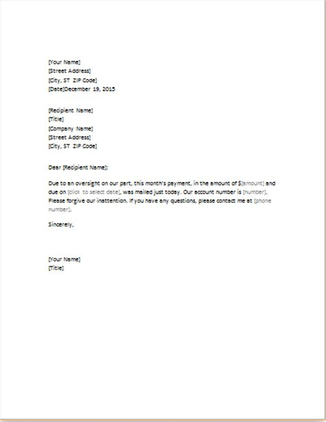 Sle Letter For Payment Delay Apology Letter Templates For Word Word Excel Templates