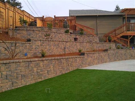 retaining wall to level backyard the allan block blog planning your diy retaining wall