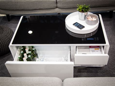 sobro coffee table charges phones plays tracks and chills
