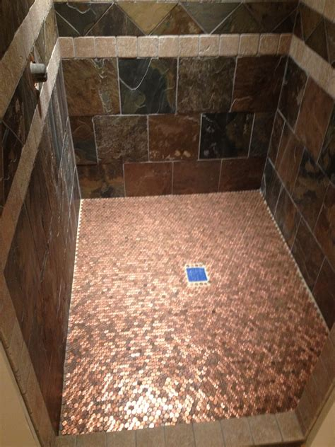 bathroom floor pennies copper floor made out of pennies so cool and easy diy