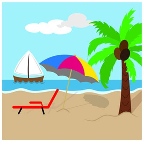 Beach Clipart Image   Tropical Island Scene with Coconut